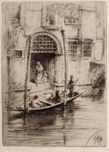 Edgar CHAHINE - Estampe-Multiple -  Venise, sandalo à la porte d'un palais