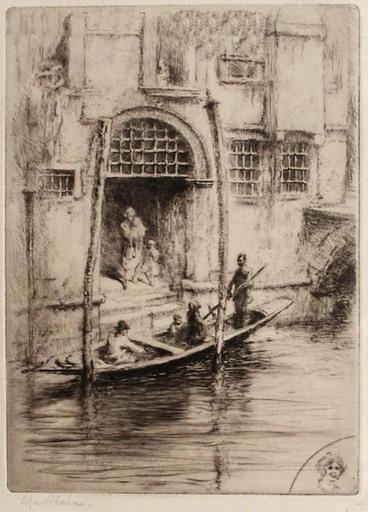 Edgar CHAHINE - Print-Multiple -  Venise, sandalo à la porte d'un palais