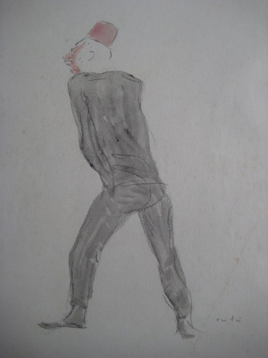 Marcel VERTES - Drawing-Watercolor - DESSIN SIGNÉ CLOWN AQUARELLE LAVIS FUSAIN HANDSIGNED DRAWING