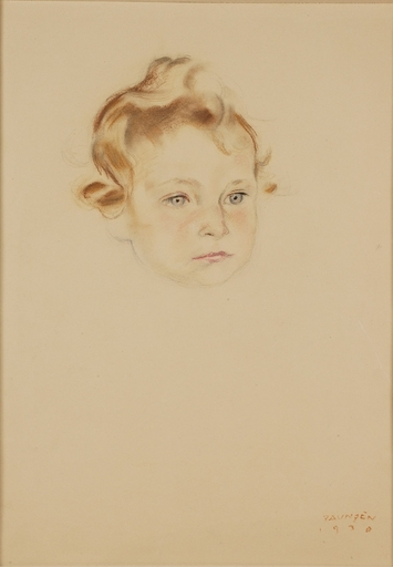 "Arthur PAUNZEN - Drawing-Watercolor - ""Portrait of a Little Girl"", Pastel, 1930"