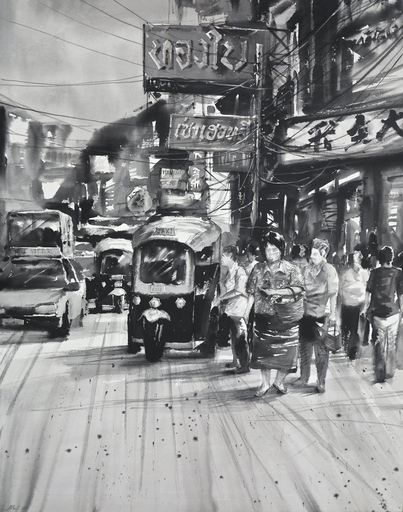 Attasit POKPONG - Pittura - Streets of Bangkok