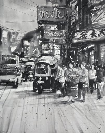 Attasit POKPONG - Peinture - Streets of Bangkok