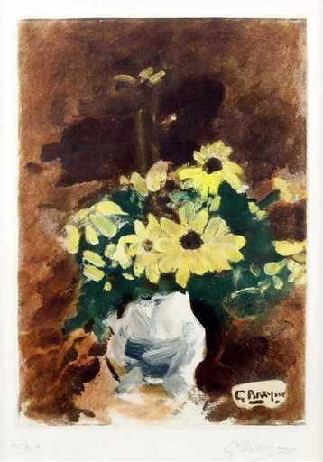 Georges BRAQUE - Stampa-Multiplo - Vase de fleur jaunes