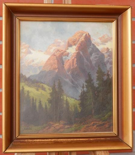 Karl FLIEHER - Painting - Loferer Steinberge mit Grubhörndl