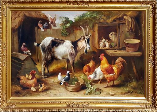 Edgar HUNT - Pintura - A Farmyard Gathering