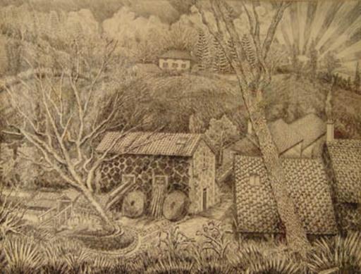 Elie LASCAUX - Dibujo Acuarela - Le moulin du Repaire