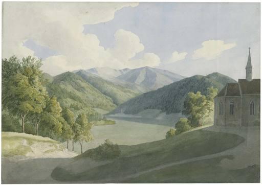 Friedrich EISENLOHR - Drawing-Watercolor - Mittelgebirgslandschaft mit einer gotischen Kapelle rechts.