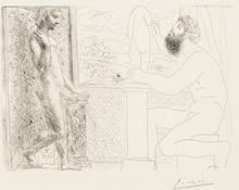 Pablo PICASSO - Grabado - Sculpteur et son Modèle devant une Fenêtre, Pl.59 from 'La