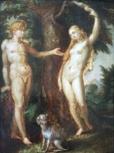 Hendrick GOLTZIUS - Painting - « Adam and Eve with the serpent » Circa 1606