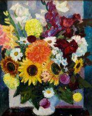 Louis BERTHOMMÉ-SAINT-ANDRÉ - Painting - Dalias, soleils, cosmos, glaieuls
