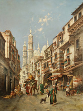 Max Friedrich RABES - Painting - A Busy Street in Cairo