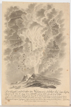 """Franz Xaver Placidus SCHUMACHER - Drawing-Watercolor - """"The erruption of Mount Vesuvius on the 8th of August 1779"""""""