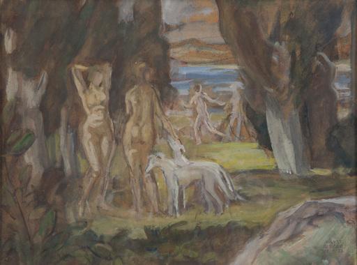 """August RIEGER - 绘画 - """"Nackte Badende mit Windhunden in der Landschaft"""""""
