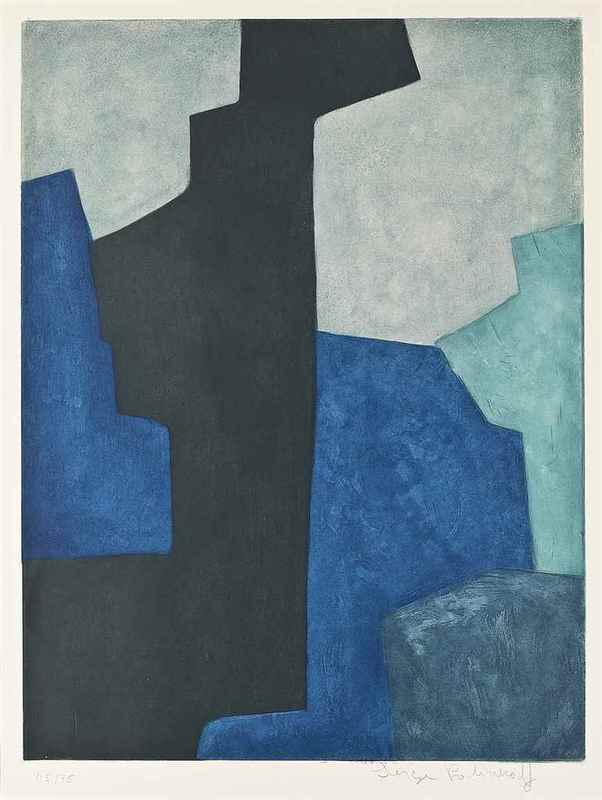 Serge POLIAKOFF - Stampa-Multiplo - Composition in Black, Blue and Mauve