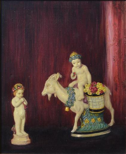 Elizabeth Piutti BARTH - Painting - Still-life with porcelain figures