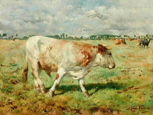 Alfred Jacques VERWEE - Peinture - A bull in a Flemish polder medow