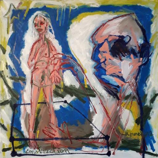 Bernard MOREL - Gemälde - PEINTRE ET MODELE...CONSTRUCTION...
