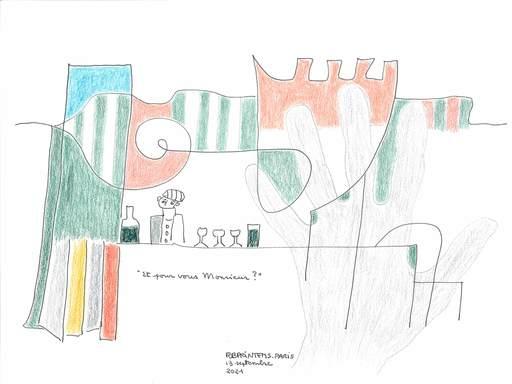 """Reine BUD-PRINTEMS - Zeichnung Aquarell - """"Et pour vous Monsieur ?"""""""