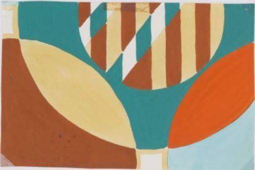 Bruno MUNARI - Drawing-Watercolor - Progetto grafico per tessuto per la X Triennale di Milano