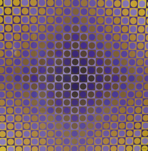 Victor VASARELY - Painting - Alom Violet/Yellow