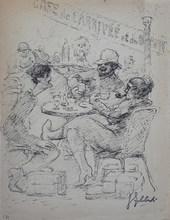 Georges Guido FILIBERTI (1881-1970) - ambiance au café de l`arrivé et du depart