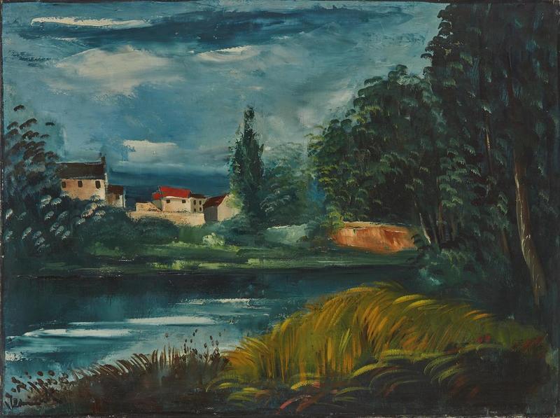 Maurice DE VLAMINCK - Painting - Paysage au bord de l'eau