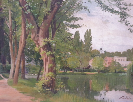 Alfred MONTEZIN - Pintura - Paysage de bord de Seine