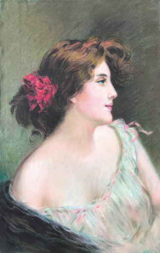Albert AUBLET - Dibujo Acuarela - c.1900 Lady portrait