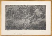 卡米耶•毕沙罗 - 版画 - Repos du Dimanche dans le Bois