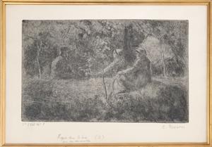 Camille PISSARRO - Grabado - Repos du Dimanche dans le Bois
