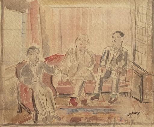 Edgard TYTGAT - Zeichnung Aquarell - Les trois compères
