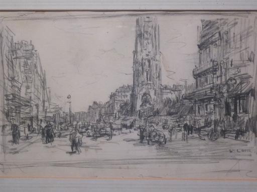 Luigi LOIR - 水彩作品 - Paris, Rue de Rivoli avec la Tour Saint-Jacques