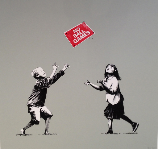 BANKSY - Stampa Multiplo - No Ball Games Grey (signed)