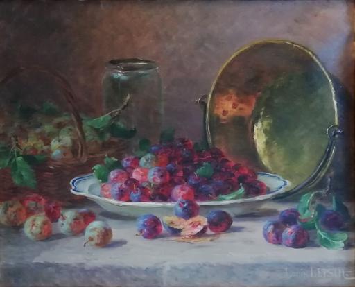 Louis LETSCH - Gemälde - Nature morte aux quetsches , reine-claudes et confiturier