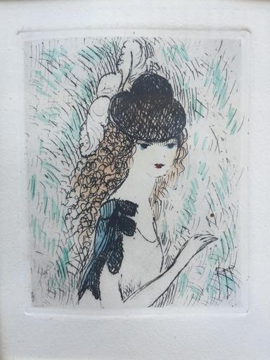 Marie LAURENCIN - Estampe-Multiple - Jeune fille au chapeau