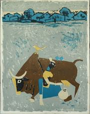 Maqbool Fida HUSAIN - Estampe-Multiple - Farmer when milking