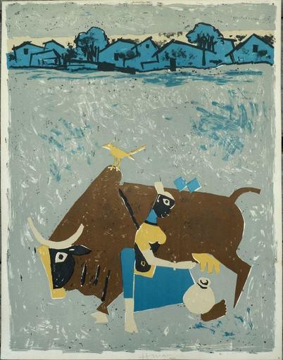 Maqbool Fida HUSAIN - Grabado - Farmer when milking