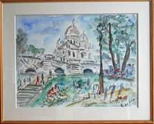 Roland DUBUC - Dibujo Acuarela - Montmartre Le Sacré Coeur