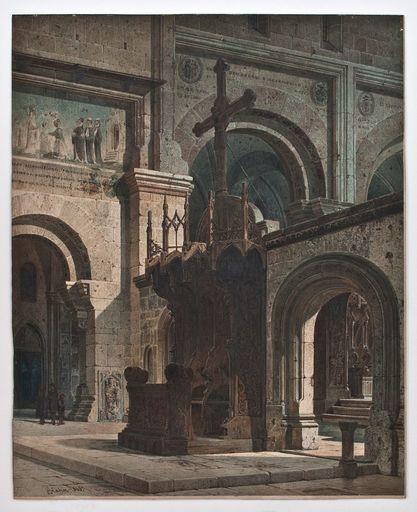 Gustav Adolf HAHN - Disegno Acquarello - Klosterkirche Maulbronn