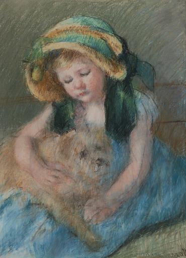 Mary CASSATT - Drawing-Watercolor - Sara au bonnet avec son chien