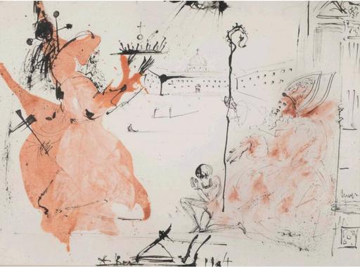 Salvador DALI - Drawing-Watercolor - Processionnaires et évêque