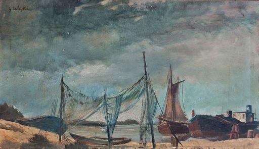 Erich WASKE - Painting - Boote an der Ostsee