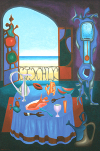 Cundo BERMUDEZ - Peinture - Interior con Vista al Mar, (Interior with Ocean View)