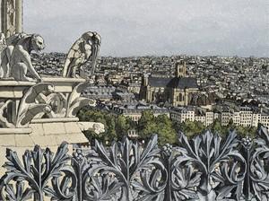Olivier LAVOREL - Pintura - 1905 - Eglise Saint Gervais depuis Notre Dame de Paris
