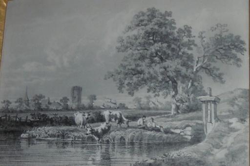 Alfred BÖHM - Drawing-Watercolor - Kühe in Landschaft