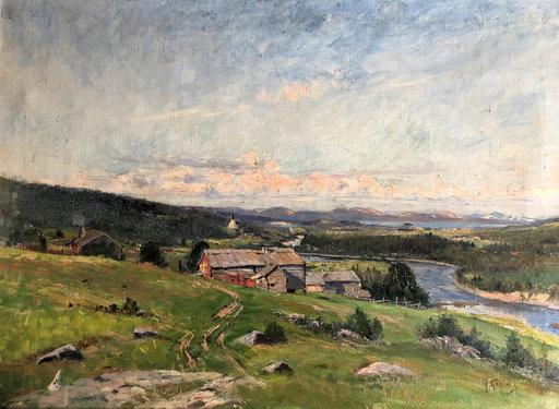 Anton GENBERG - Painting - paysage de montagne, rivière en Suède