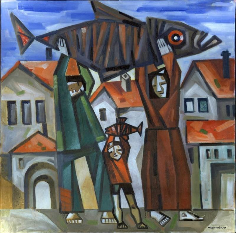 Anatoliy CHUDINOVSKIKH - Pintura - Fischerfamilie