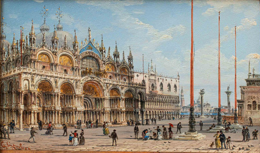 Giovanni GRUBACS - Gemälde - View with the Basilica of San Marco