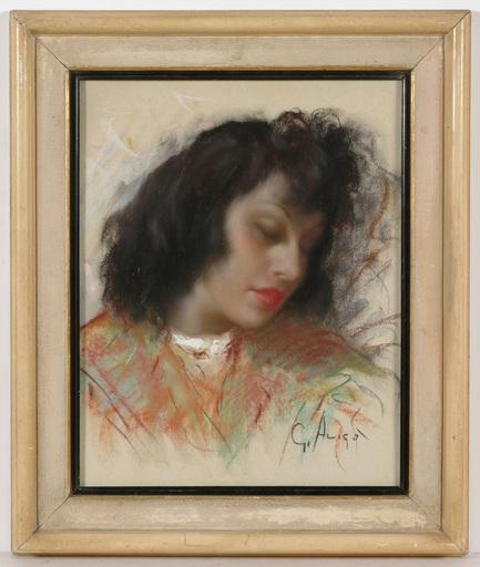 "Giovanni ALICO - 绘画 - Giovanni Alico (1906-1971) ""Sleeping beauty"" pastel 1930/40s"