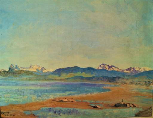Claude JUVET - Gemälde - Plage d'Excenevex Haute Savoie. Lac Leman. Vue dent d'Oche